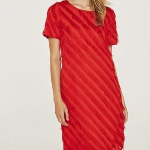 Long Tall Sally Red Fringed Feather Dress NWT